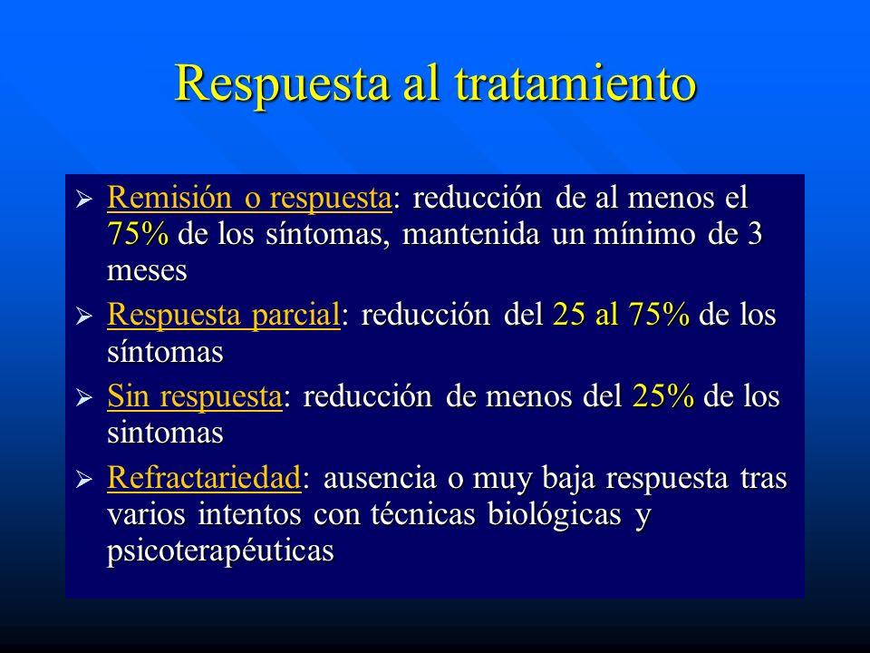 Respuesta al tratamiento : reducción de al menos el 75% de los síntomas, mantenida un mínimo de 3 meses Remisión o respuesta: reducción de al menos el