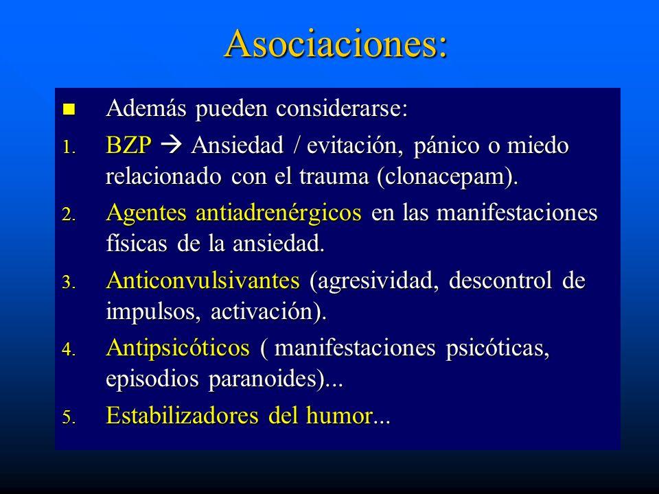 Asociaciones: Además pueden considerarse: Además pueden considerarse: 1. BZP Ansiedad / evitación, pánico o miedo relacionado con el trauma (clonacepa