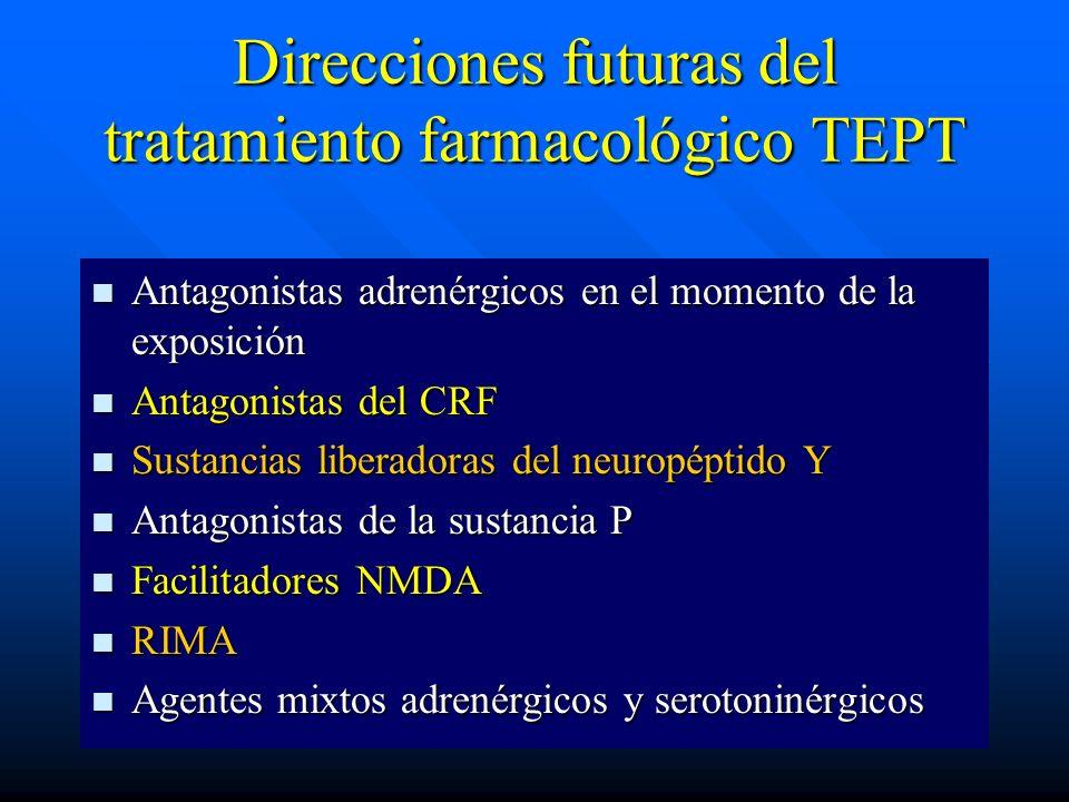 Direcciones futuras del tratamiento farmacológico TEPT Antagonistas adrenérgicos en el momento de la exposición Antagonistas adrenérgicos en el moment