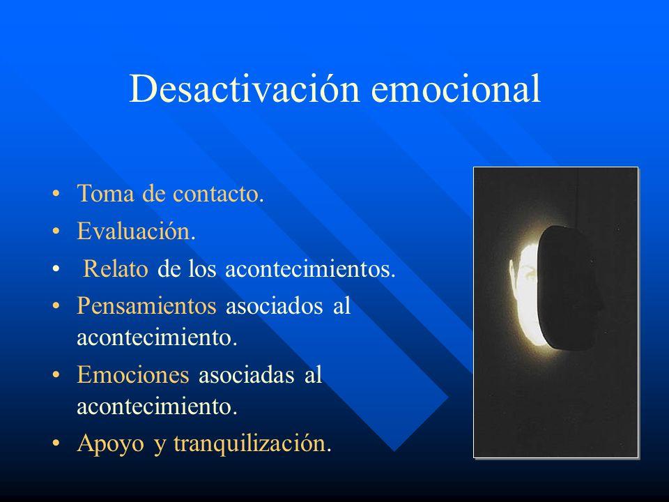 Desactivación emocional Toma de contacto. Evaluación. Relato de los acontecimientos. Pensamientos asociados al acontecimiento. Emociones asociadas al