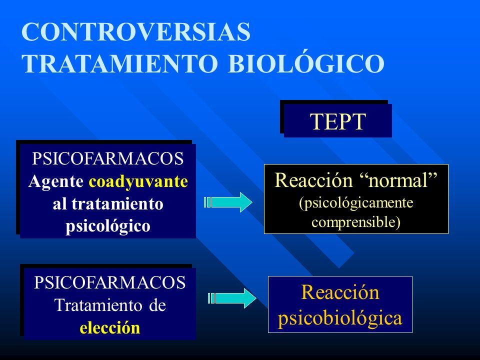 CONTROVERSIAS TRATAMIENTO BIOLÓGICO Reacción normal (psicológicamente comprensible) Reacción psicobiológica TEPT PSICOFARMACOS Agente coadyuvante al t