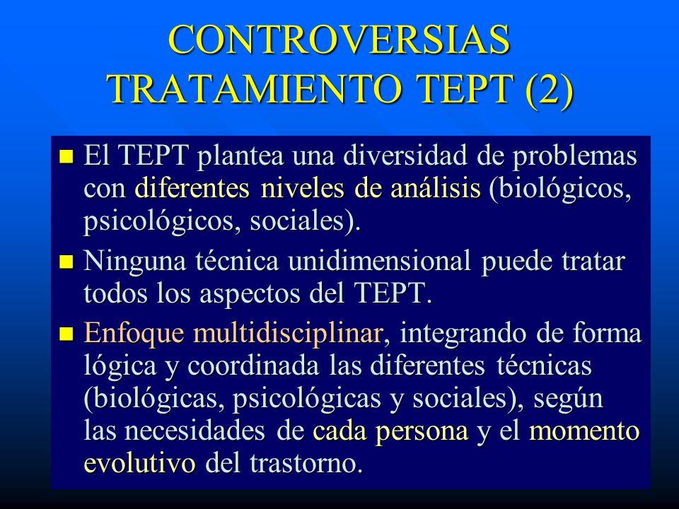 CONTROVERSIAS TRATAMIENTO TEPT (2) El TEPT plantea una diversidad de problemas con diferentes niveles de análisis (biológicos, psicológicos, sociales)