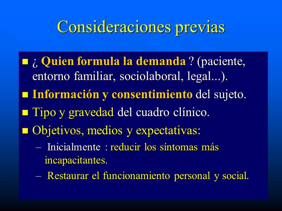 Consideraciones previas ¿ Quien formula la demanda ? (paciente, entorno familiar, sociolaboral, legal...). ¿ Quien formula la demanda ? (paciente, ent