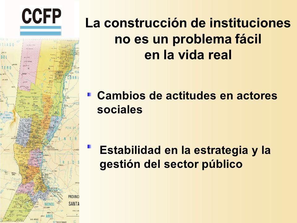 La construcción de instituciones no es un problema fácil en la vida real Estabilidad en la estrategia y la gestión del sector público Cambios de actitudes en actores sociales