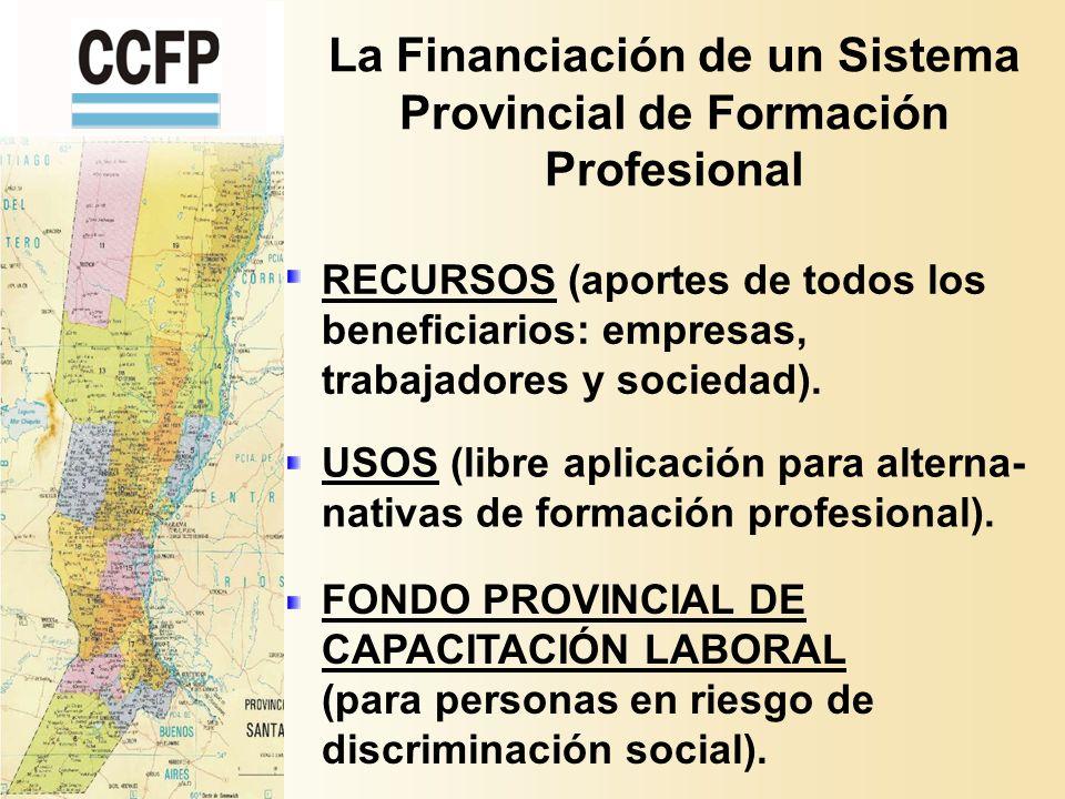 La Financiación de un Sistema Provincial de Formación Profesional RECURSOS (aportes de todos los beneficiarios: empresas, trabajadores y sociedad).
