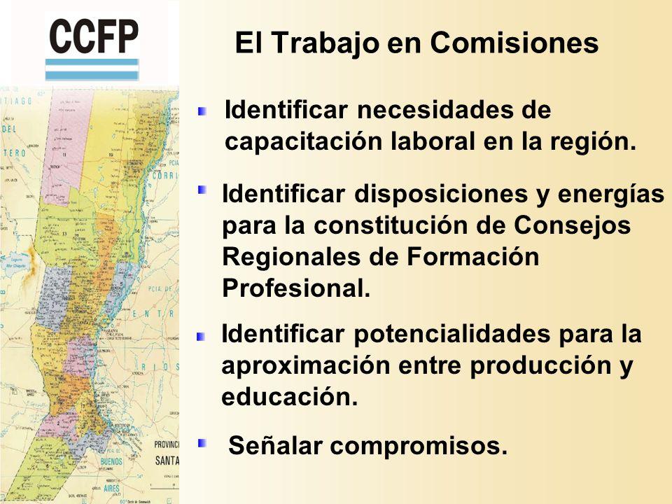 El Trabajo en Comisiones Identificar necesidades de capacitación laboral en la región.