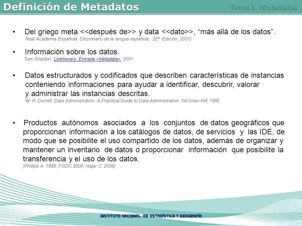 Definición de Metadatos Del griego meta > y data >, más allá de los datos.