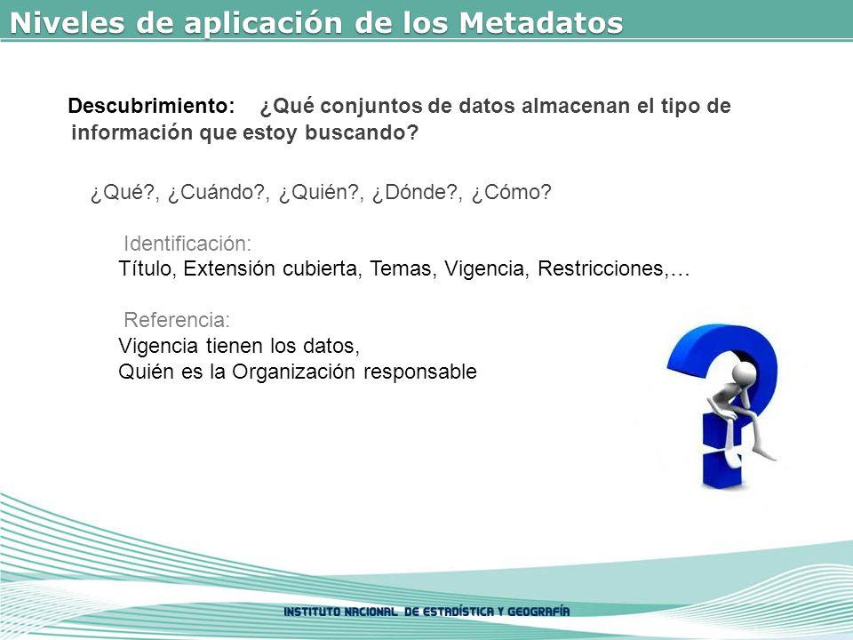 Niveles de aplicación de los Metadatos Descubrimiento: ¿Qué conjuntos de datos almacenan el tipo de información que estoy buscando.