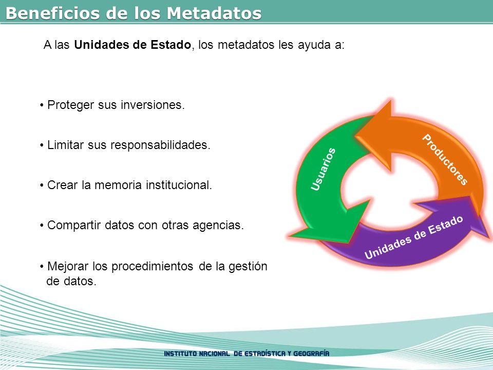 Beneficios de los Metadatos A las Unidades de Estado, los metadatos les ayuda a: Proteger sus inversiones.