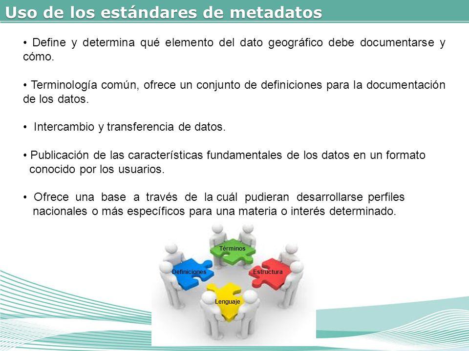 Uso de los estándares de metadatos Términos Definiciones Lenguaje Estructura Define y determina qué elemento del dato geográfico debe documentarse y cómo.