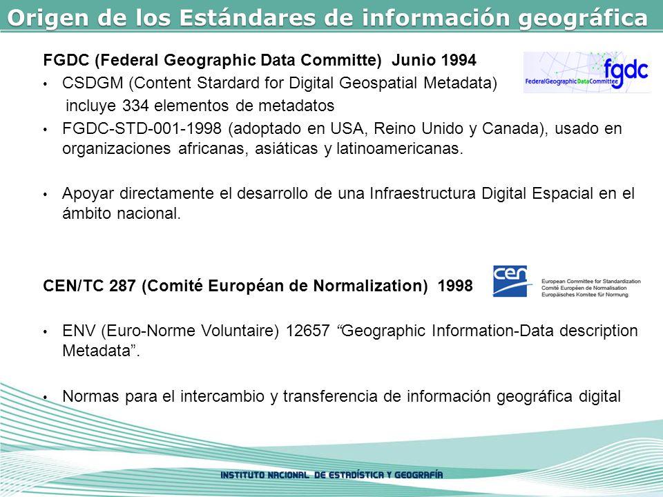 Origen de los Estándares de información geográfica FGDC (Federal Geographic Data Committe) Junio 1994 CSDGM (Content Stardard for Digital Geospatial Metadata) incluye 334 elementos de metadatos FGDC-STD-001-1998 (adoptado en USA, Reino Unido y Canada), usado en organizaciones africanas, asiáticas y latinoamericanas.