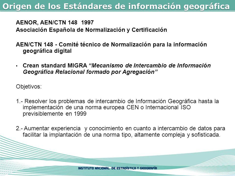 AENOR, AEN/CTN 148 1997 Asociación Española de Normalización y Certificación AEN/CTN 148 - Comité técnico de Normalización para la información geográfica digital Crean standard MIGRA Mecanismo de Intercambio de Información Geográfica Relacional formado por Agregación Objetivos: 1.- Resolver los problemas de intercambio de Información Geográfica hasta la implementación de una norma europea CEN o Internacional ISO previsiblemente en 1999 2.- Aumentar experiencia y conocimiento en cuanto a intercambio de datos para facilitar la implantación de una norma tipo, altamente compleja y sofisticada.