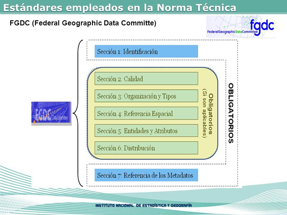 Estándares empleados en la Norma Técnica FGDC (Federal Geographic Data Committe)