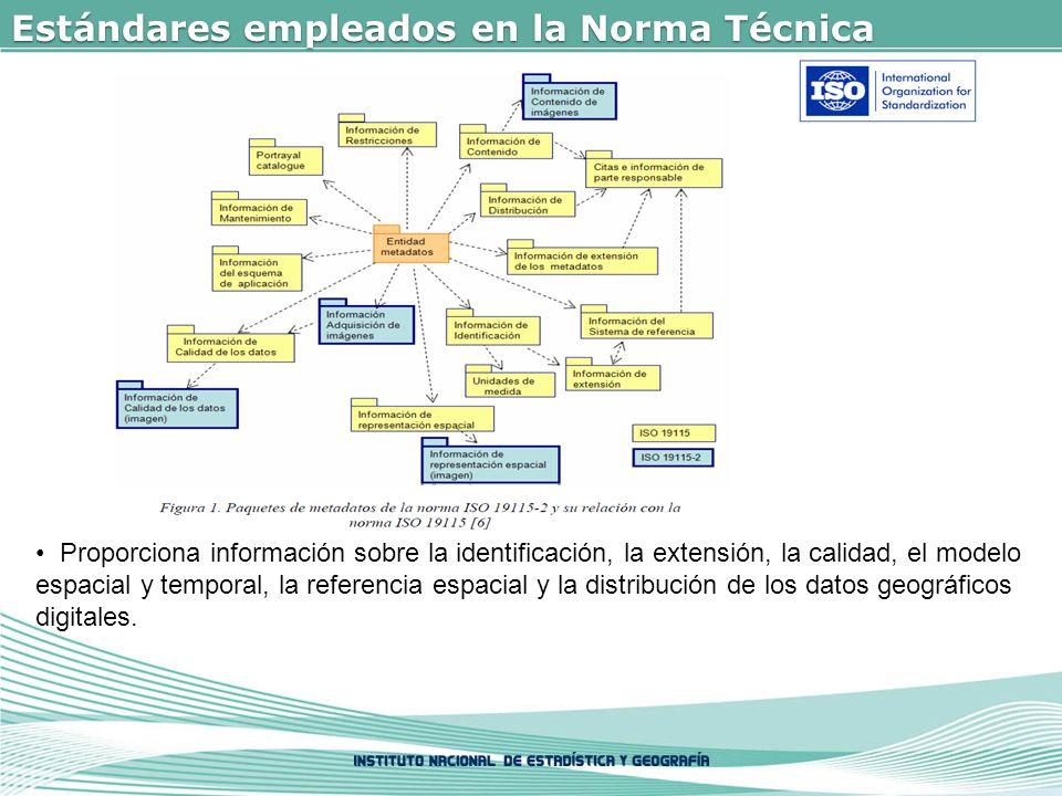 Estándares empleados en la Norma Técnica Proporciona información sobre la identificación, la extensión, la calidad, el modelo espacial y temporal, la referencia espacial y la distribución de los datos geográficos digitales.