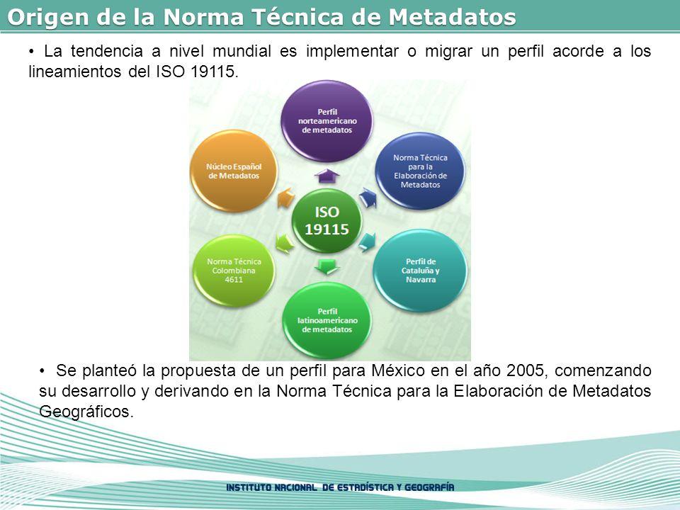 Origen de la Norma Técnica de Metadatos La tendencia a nivel mundial es implementar o migrar un perfil acorde a los lineamientos del ISO 19115.