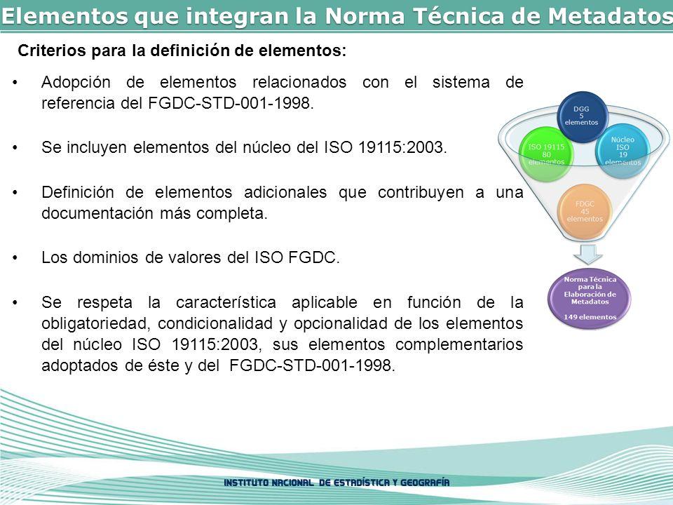 Elementos que integran la Norma Técnica de Metadatos Criterios para la definición de elementos: Adopción de elementos relacionados con el sistema de referencia del FGDC-STD-001-1998.