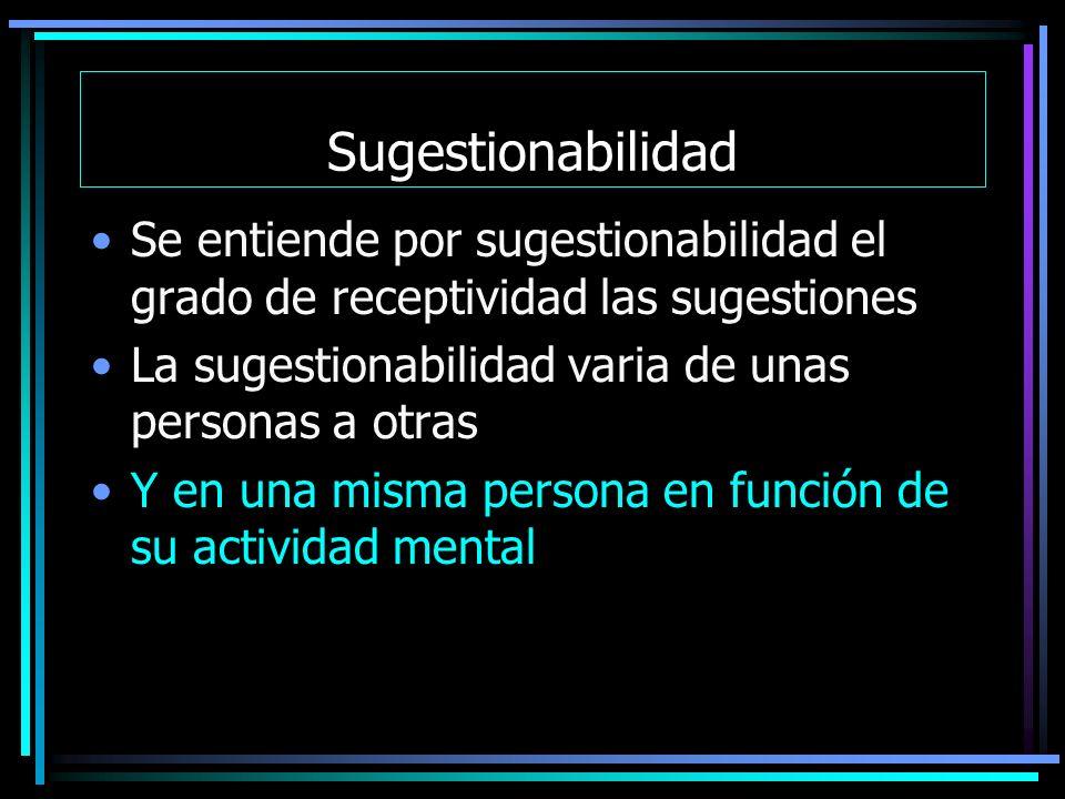Sugestionabilidad Se entiende por sugestionabilidad el grado de receptividad las sugestiones La sugestionabilidad varia de unas personas a otras Y en una misma persona en función de su actividad mental