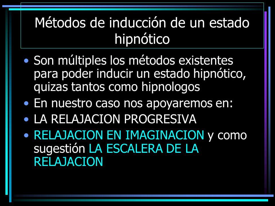Métodos de inducción de un estado hipnótico Son múltiples los métodos existentes para poder inducir un estado hipnótico, quizas tantos como hipnologos En nuestro caso nos apoyaremos en: LA RELAJACION PROGRESIVA RELAJACION EN IMAGINACION y como sugestión LA ESCALERA DE LA RELAJACION