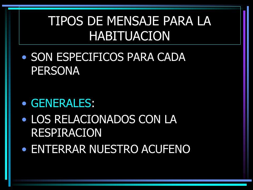 TIPOS DE MENSAJE PARA LA HABITUACION SON ESPECIFICOS PARA CADA PERSONA GENERALES: LOS RELACIONADOS CON LA RESPIRACION ENTERRAR NUESTRO ACUFENO