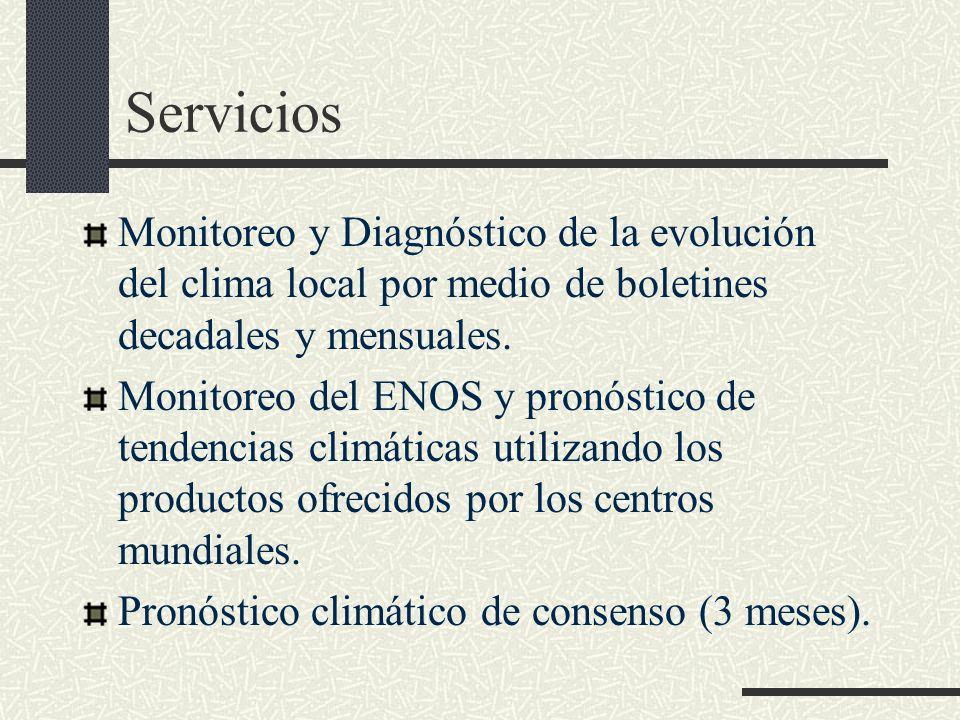 Servicios Monitoreo y Diagnóstico de la evolución del clima local por medio de boletines decadales y mensuales.