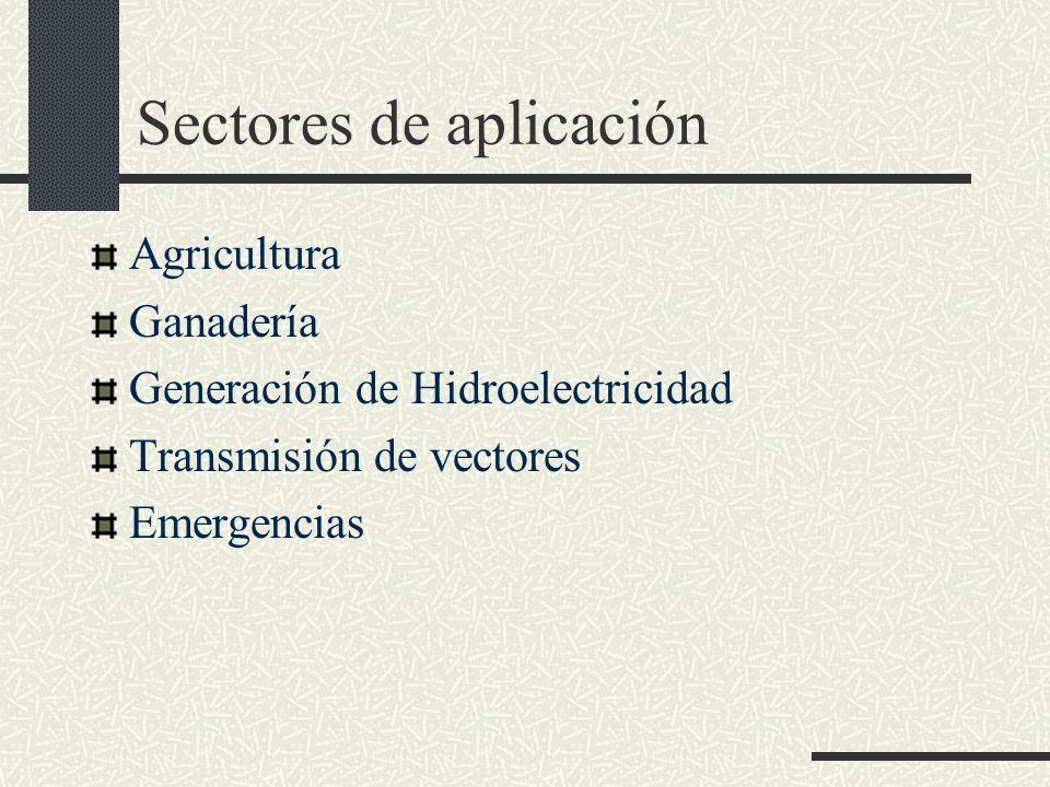 Sectores de aplicación Agricultura Ganadería Generación de Hidroelectricidad Transmisión de vectores Emergencias