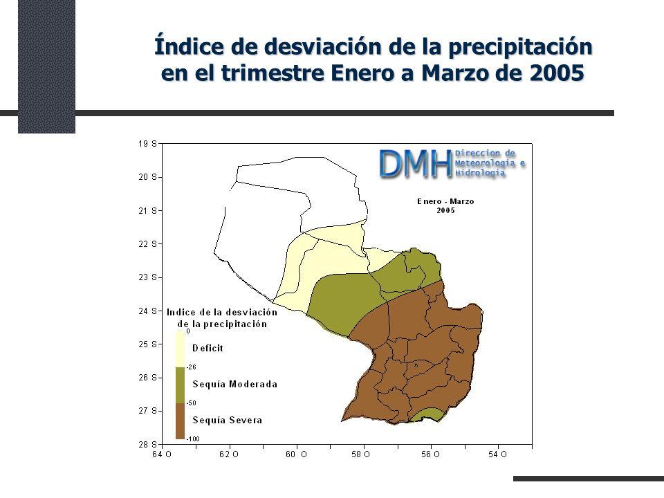 Índice de desviación de la precipitación en el trimestre Enero a Marzo de 2005