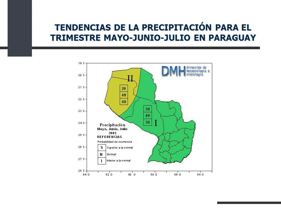 TENDENCIAS DE LA PRECIPITACIÓN PARA EL TRIMESTRE MAYO-JUNIO-JULIO EN PARAGUAY