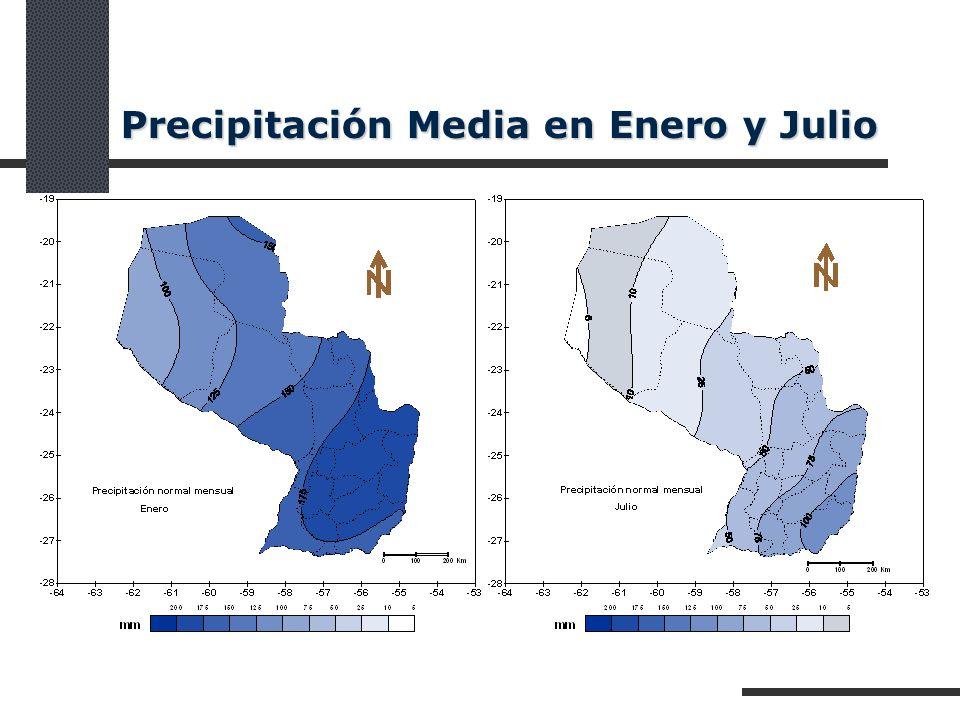 Precipitación Media en Enero y Julio