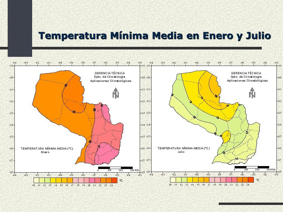 Temperatura Mínima Media en Enero y Julio