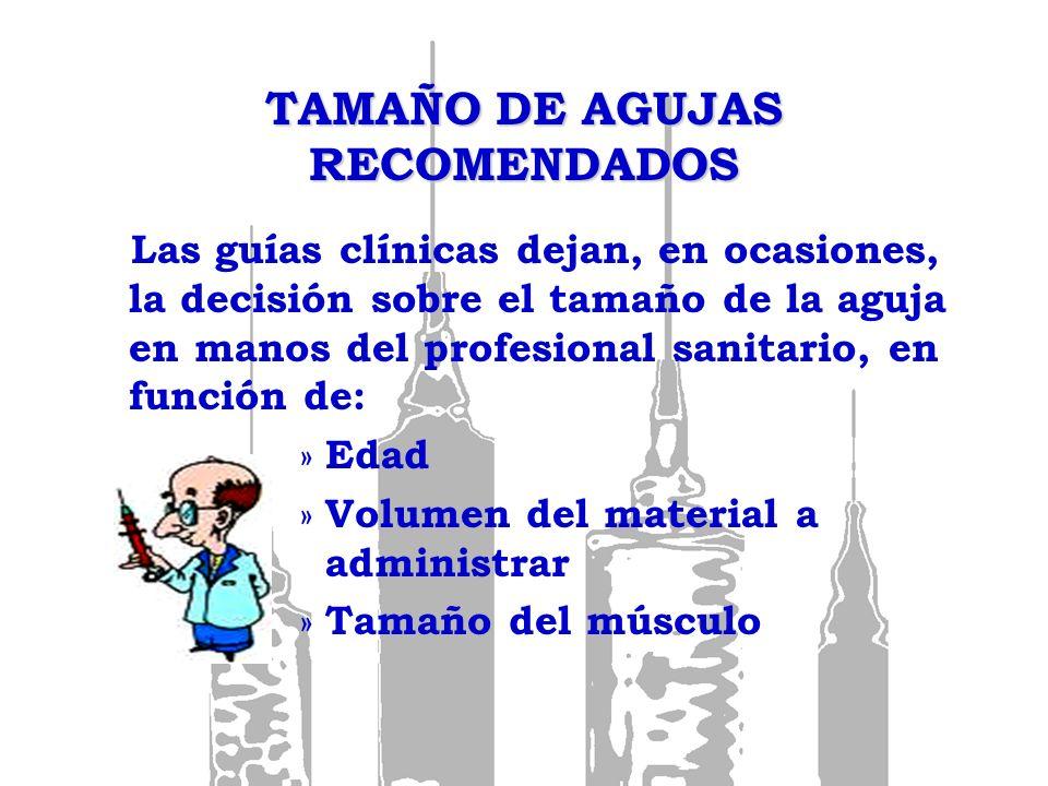 TAMAÑO DE AGUJAS RECOMENDADOS Las guías clínicas dejan, en ocasiones, la decisión sobre el tamaño de la aguja en manos del profesional sanitario, en f