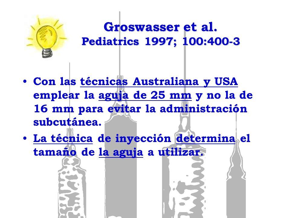 Groswasser et al. Pediatrics 1997; 100:400-3 Con las técnicas Australiana y USA emplear la aguja de 25 mm y no la de 16 mm para evitar la administraci