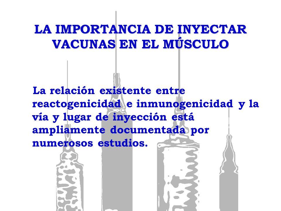 LA IMPORTANCIA DE INYECTAR VACUNAS EN EL MÚSCULO La vía intramuscular es de elección para: Vacunas fraccionadas o con adyuvantes.