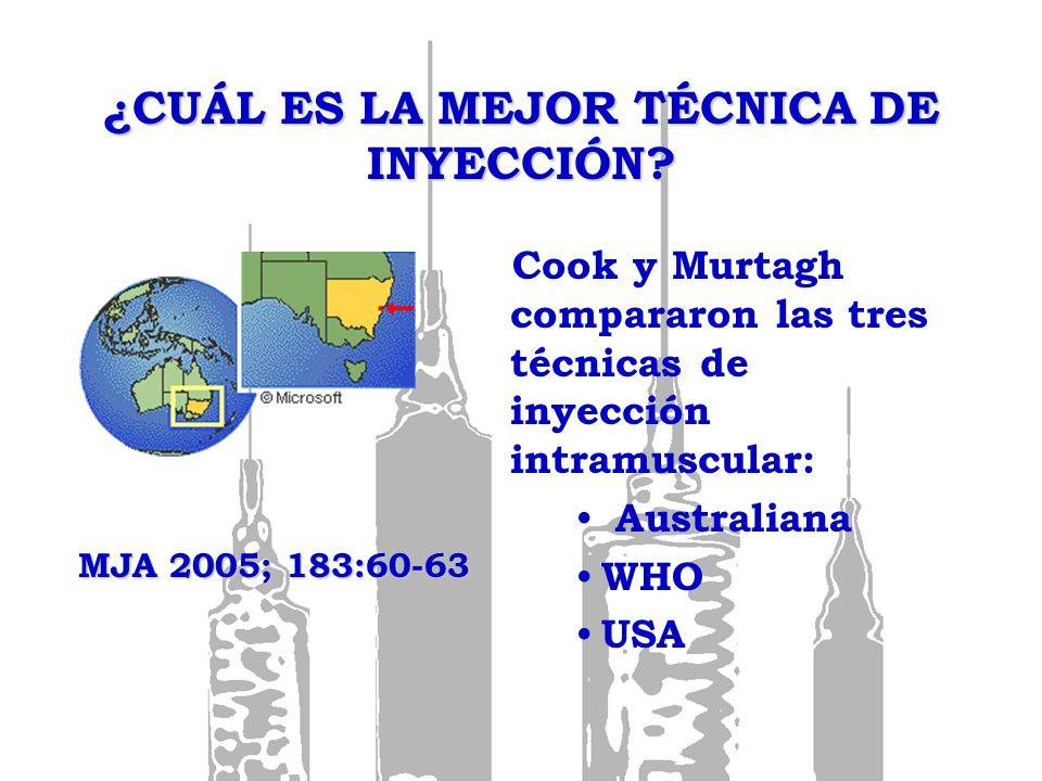 ¿CUÁL ES LA MEJOR TÉCNICA DE INYECCIÓN? Cook y Murtagh compararon las tres técnicas de inyección intramuscular: Australiana WHO USA MJA 2005; 183:60-6
