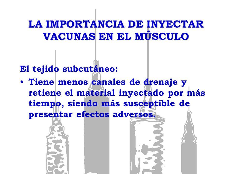 LA IMPORTANCIA DE INYECTAR VACUNAS EN EL MÚSCULO Por tanto, la técnica de inyección y tamaño de la aguja son importantes para asegurar la administración de las vacunas en la capa de tejido deseado y de esta manera aumentar su seguridad e inmunogenicidad.
