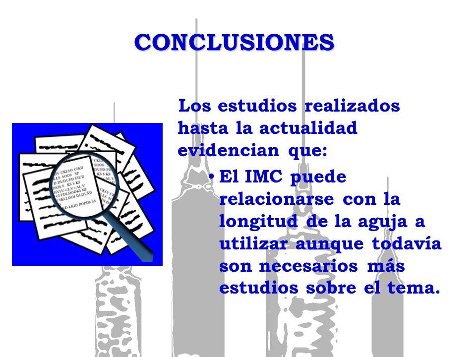CONCLUSIONES Los estudios realizados hasta la actualidad evidencian que: El IMC puede relacionarse con la longitud de la aguja a utilizar aunque todav