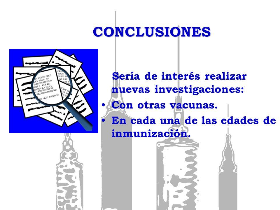 CONCLUSIONES Sería de interés realizar nuevas investigaciones: Con otras vacunas. En cada una de las edades de inmunización.