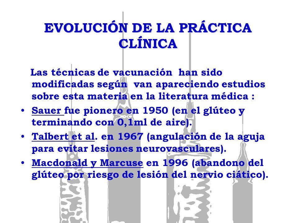 EVOLUCIÓN DE LA PRÁCTICA CLÍNICA Las técnicas de vacunación han sido modificadas según van apareciendo estudios sobre esta materia en la literatura mé