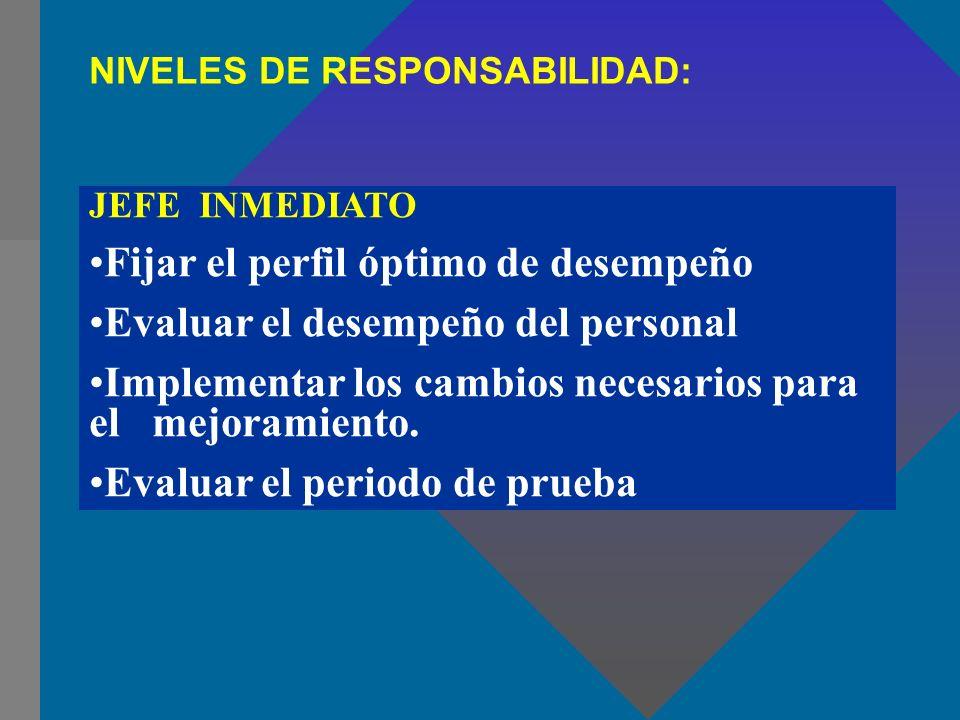 NIVELES DE RESPONSABILIDAD: JEFE INMEDIATO Fijar el perfil óptimo de desempeño Evaluar el desempeño del personal Implementar los cambios necesarios pa