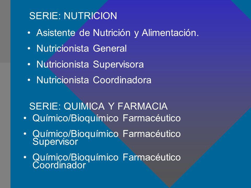 SERIE: QUIMICA Y FARMACIA Asistente de Nutrición y Alimentación. Nutricionista General Nutricionista Supervisora Nutricionista Coordinadora SERIE: NUT