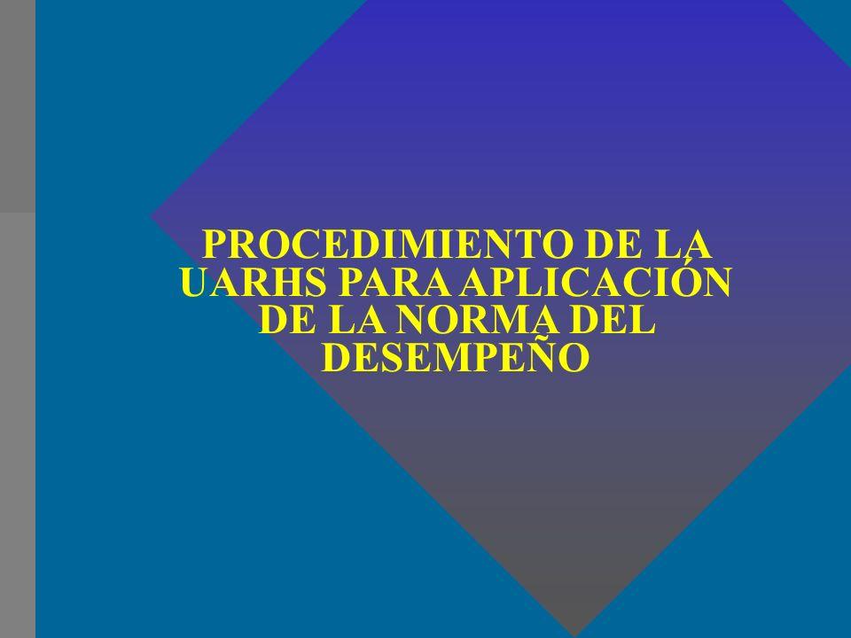 PROCEDIMIENTO DE LA UARHS PARA APLICACIÓN DE LA NORMA DEL DESEMPEÑO