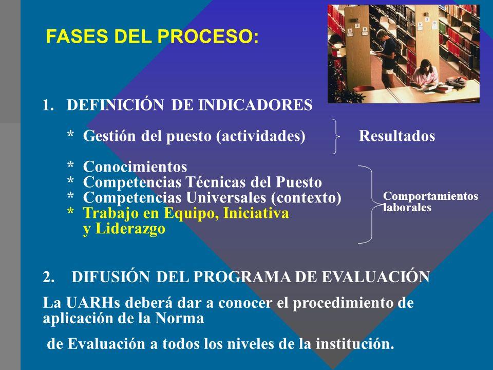 FASES DEL PROCESO: 1. DEFINICIÓN DE INDICADORES * Gestión del puesto (actividades) Resultados * Conocimientos * Competencias Técnicas del Puesto * Com