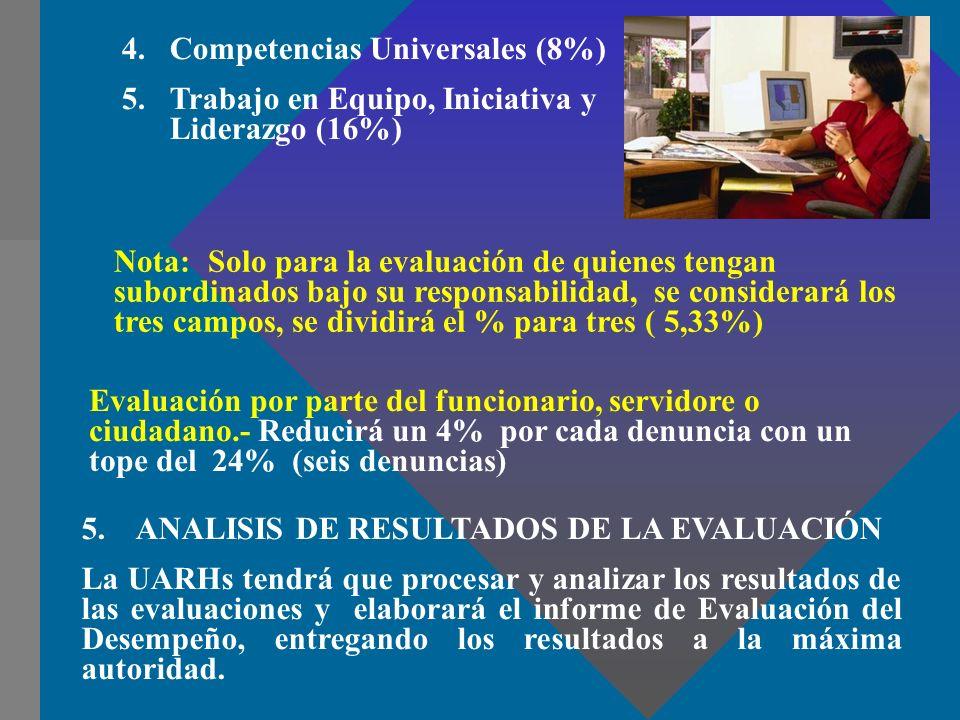 4.Competencias Universales (8%) 5.Trabajo en Equipo, Iniciativa y Liderazgo (16%) 5. ANALISIS DE RESULTADOS DE LA EVALUACIÓN La UARHs tendrá que proce