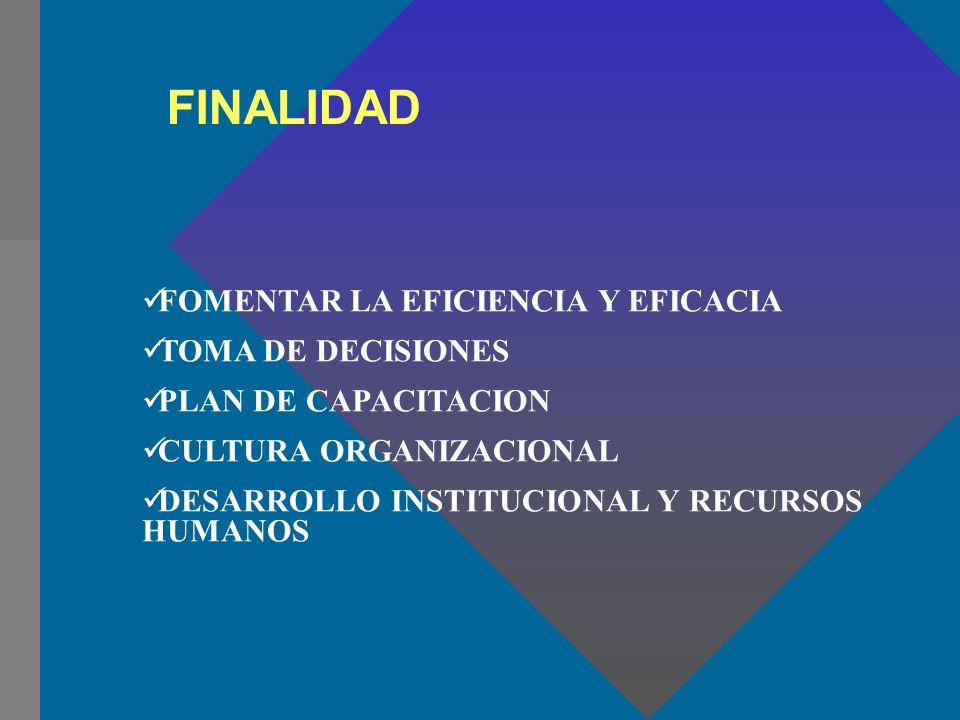 FINALIDAD FOMENTAR LA EFICIENCIA Y EFICACIA TOMA DE DECISIONES PLAN DE CAPACITACION CULTURA ORGANIZACIONAL DESARROLLO INSTITUCIONAL Y RECURSOS HUMANOS