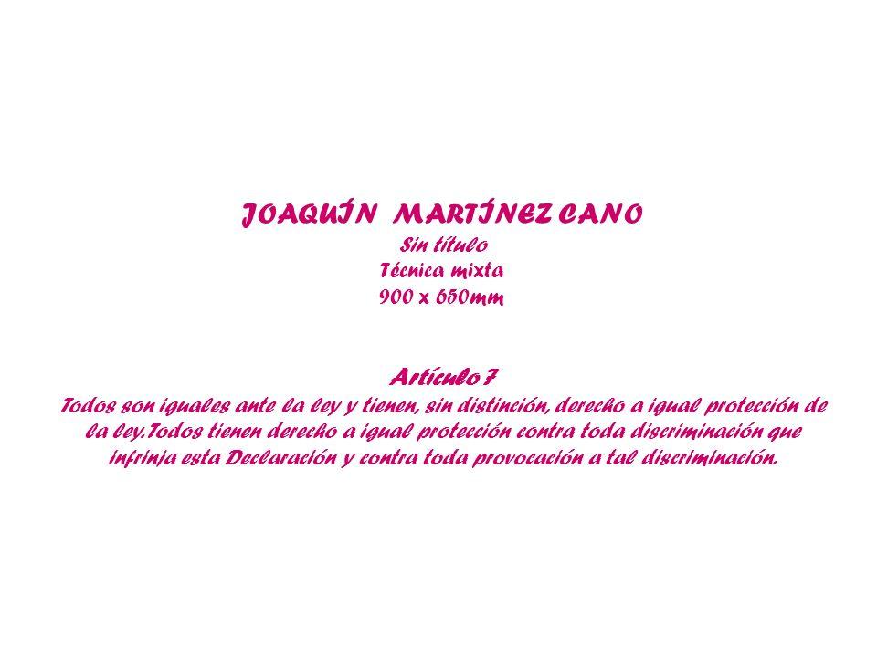 JOAQUÍN MARTÍNEZ CANO Sin título Técnica mixta 900 x 650mm Artículo 7 Todos son iguales ante la ley y tienen, sin distinción, derecho a igual protecci