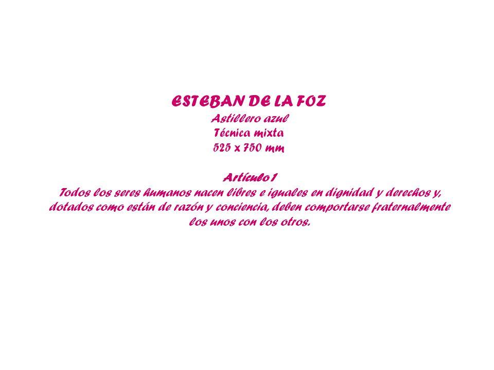 ESTEBAN DE LA FOZ Astillero azul Técnica mixta 525 x 750 mm Artículo 1 Todos los seres humanos nacen libres e iguales en dignidad y derechos y, dotado