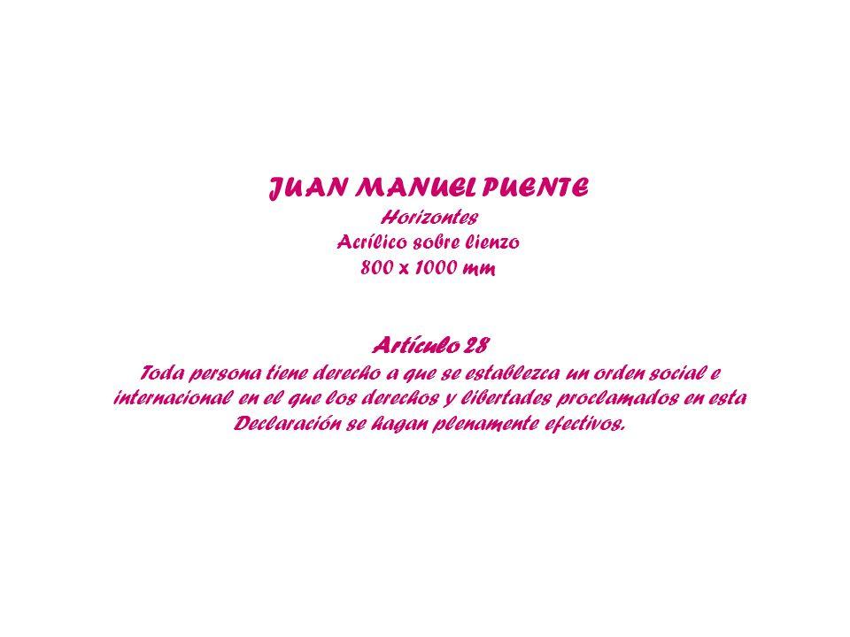 JUAN MANUEL PUENTE Horizontes Acrílico sobre lienzo 800 x 1000 mm Artículo 28 Toda persona tiene derecho a que se establezca un orden social e interna