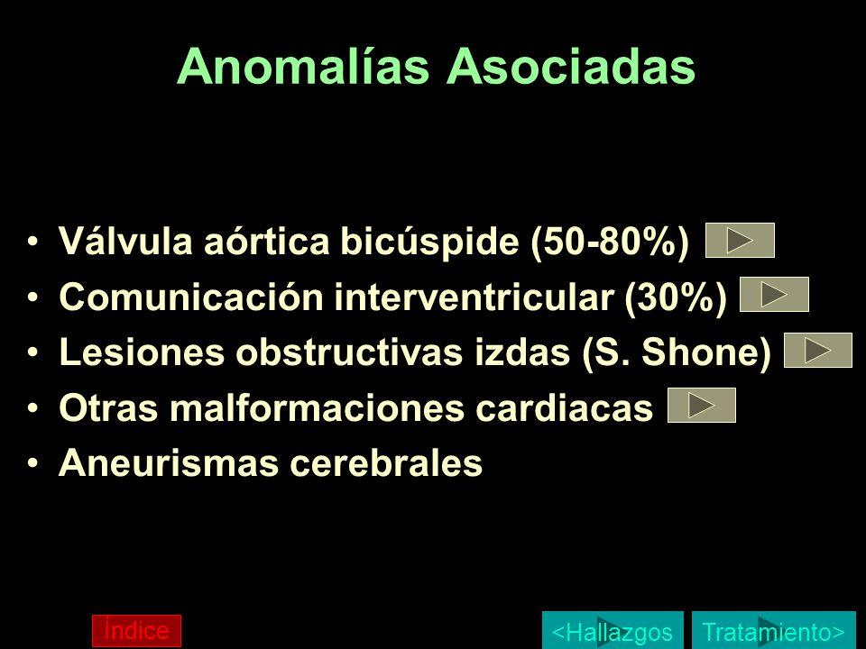 Anomalías Asociadas Válvula aórtica bicúspide (50-80%) Comunicación interventricular (30%) Lesiones obstructivas izdas (S. Shone) Otras malformaciones
