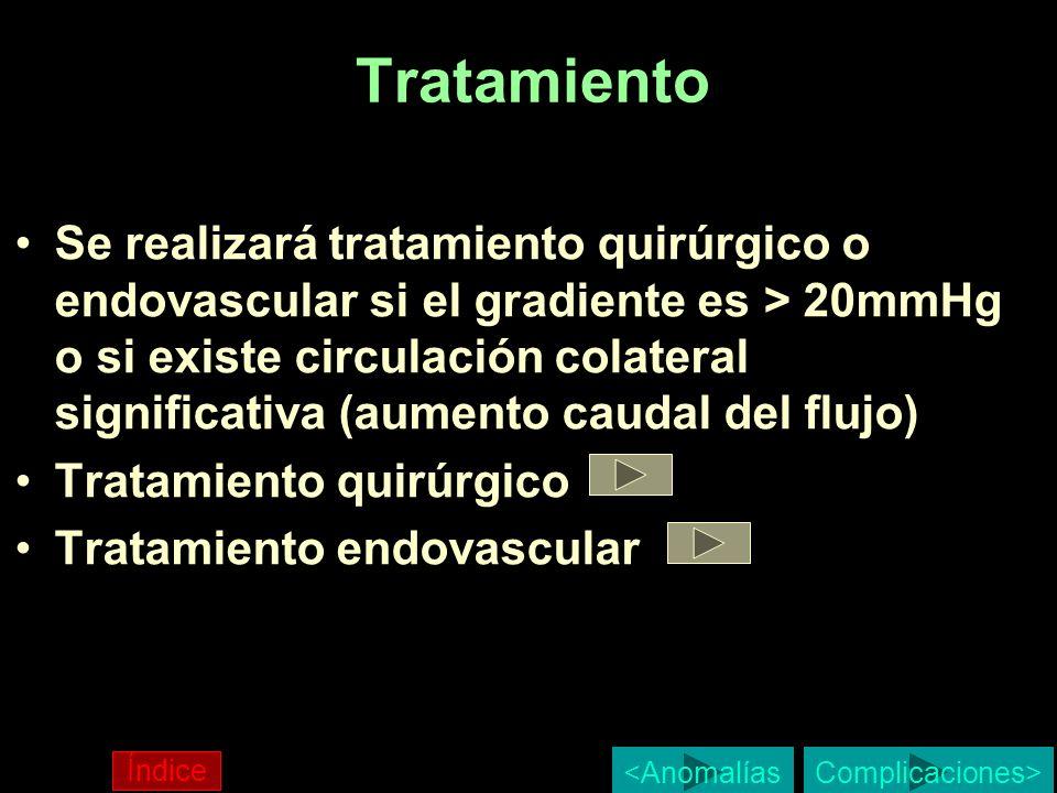 Tratamiento Se realizará tratamiento quirúrgico o endovascular si el gradiente es > 20mmHg o si existe circulación colateral significativa (aumento ca
