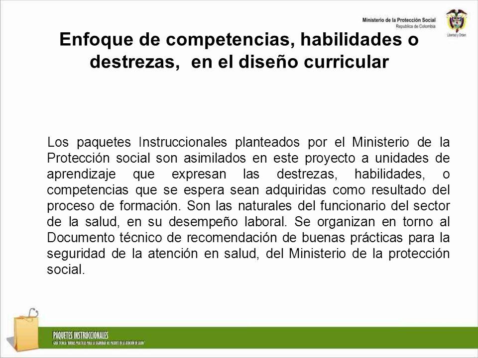 Enfoque de competencias, habilidades o destrezas, en el diseño curricular Los paquetes Instruccionales planteados por el Ministerio de la Protección s