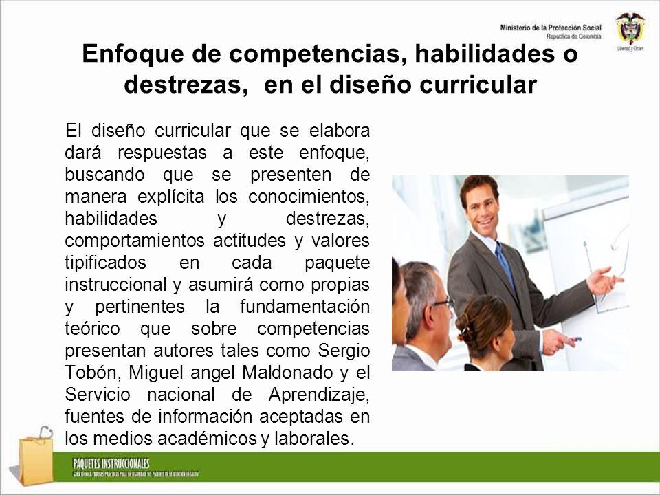 Enfoque de competencias, habilidades o destrezas, en el diseño curricular El diseño curricular que se elabora dará respuestas a este enfoque, buscando